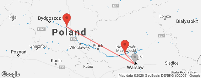 Popular indirect connections Toruń, Poland → Warsaw–Modlin Airport (WMI)
