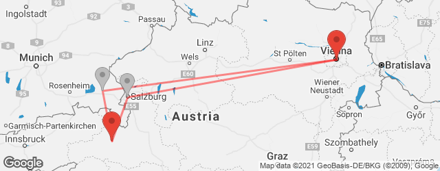 Popular indirect connections Vienna → Zell am See