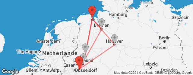 Popular indirect connections Wilhelmshaven → Wuppertal