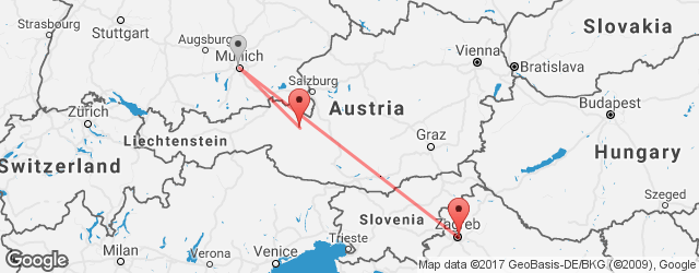 Popular indirect connections Zagreb → Zell am See